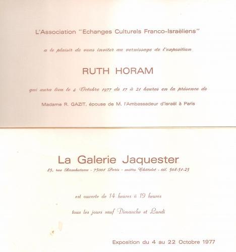 RUTH HORAM La Galerie JAQUESTER
